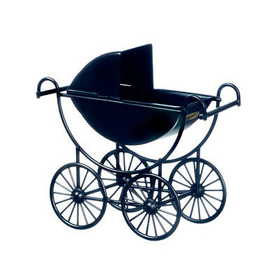 Fabulous Dollhouse Miniature Black Metal Baby Buggy/Carriage/Stroller #T8432