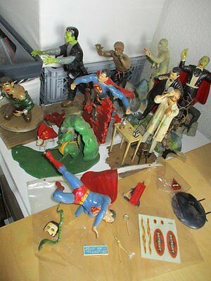 10 x AURORA Model Kits Monster Super Heroes Figures Built 60er 60s 1964 1965