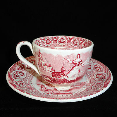 Staffordshire Childs Cup & Saucer Red DANCING GOAT Edge Malkin 1860 Transferware