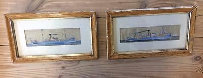 Pair Of Framed Wall Mounting Antique Late Victorian Fabric Painted Steam Boats