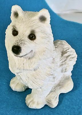CUTE Vintage 1984 Samoyed Dog Sitting Resin Figurine Stone Creatures Collection