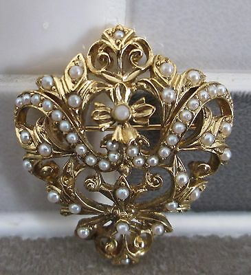 Vintage Victorian Style Gold Plated Brooch With Seed Pearls Signed Pt