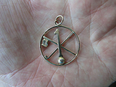 """RARE  9ct GOLD Pendant  GOLF  """"  Hole in One  """""""