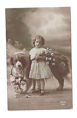 Vintage RP hand painted postcard Sincere Birthday Wishes, girl & St Bruno dog.