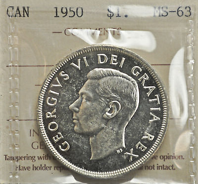 1950 Canada One Dollar ICCS graded MS-63