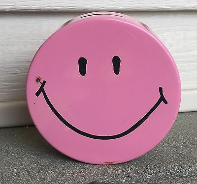 "70's Vintage SMILEY Face Bank Pink Metal 4.5"" Bank Advertising Hippie Party"