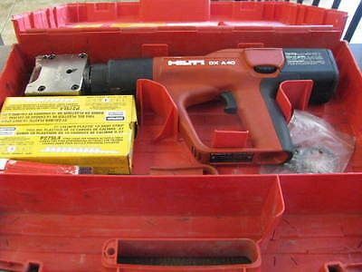 HILTI DX A40 Powder Actuated Gun w/  Hilti X-HM HEAD 10 dies Case Plus Extras