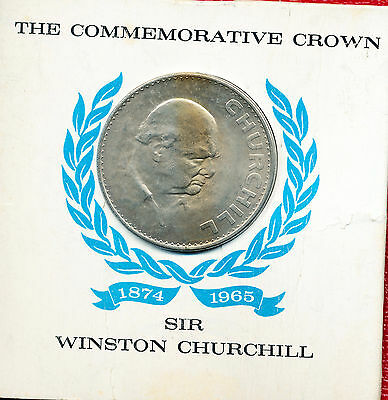 1965 Great Britain Commemorative Crown **in Display Card** Nice British Coin!