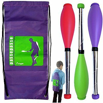 Kit 3 Perpetual Juggling clubs for 15 years +, 52cm Red, Green, Purple +