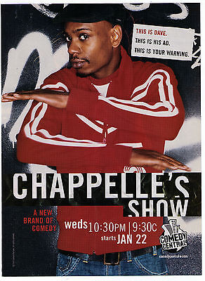 """2003 """"Chappelle's Show"""" on Comedy Central Dave Chappelle Print Advertisement"""