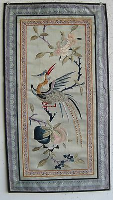 Fine Old Chinese Embroidered Silk Bird Peonies Flowers & Peaches Decorated Panel