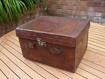 Victorian Leather Hat Box Gents Travel Trunk Henry Heath Oxford Street London