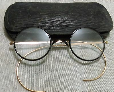 Antique Vintage Wire Rimmed Glasses Round Great Look Steampunk + Glasses Case