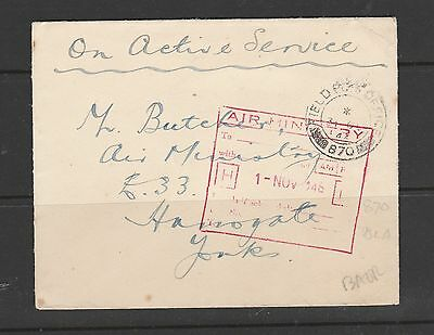 Military cover 1946 from Field  PO 870, wth Air ministry cachet