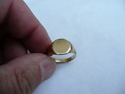 Super Antique Mens Heavy Solid 18Ct Gold Signet Pinky Ring Size S 19.15Mm Dia