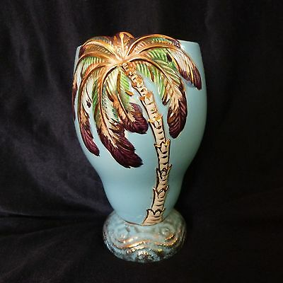 Beswick Ware Blue Vase Pottery Porcelain Palm Unusual