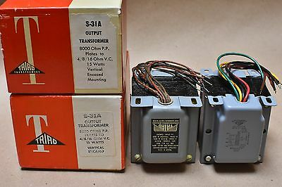 Nos Triad S-31A Tube Audio Amplifier 8K Pp 15W Output Transformer Pair