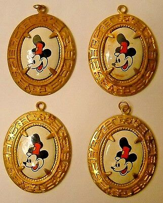Four Vintage Mickey Mouse Steam Boat Willie * Brass/porcelain Carnival Pendants