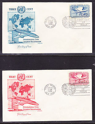 """United Nations """"Artmaster"""" 1955 - I.C.A.O  TWO First Day Cover Unaddressed"""