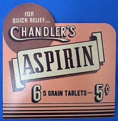 Original Vintage CHANDLERS ASPIRIN Drug Store Medicine Advertising Easel SIGN