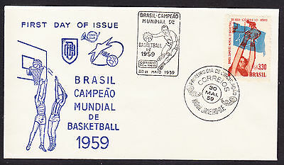 Brazil 1959 World Basketball Champs  - Cover Club First Day Cover- Unaddressed
