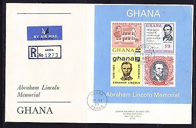 Ghana 1965 Abe Lincoln Miniature Sheet R1273 Registered First Day CoverAddressed