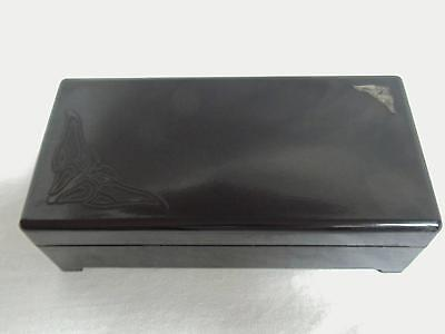 Vtg Lady Lillian Black Bakelite Art Nouveau Butterfly Footed Jewelry Box Hinged