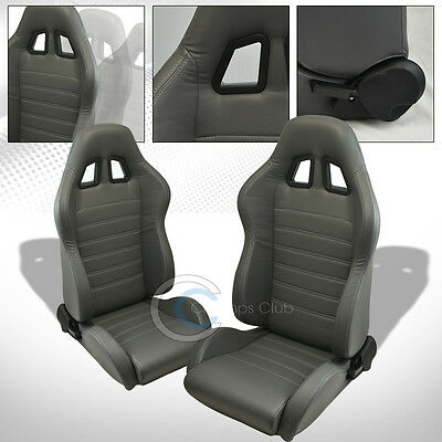2 Universal Sp Gray Stitch Pvc Leather Reclinable Racing Bucket Seats+Slider C22