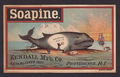 VICTORIAN TRADE CARD - SOAPINE - WHALE on BEACH, ARCTIC