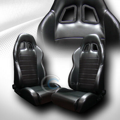 2X Universal Sp Blk Stitch Pvc Leather Reclinable Racing Bucket Seats+Slider C22