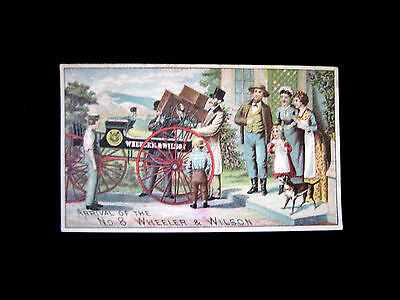 Victorian trade Card=WHEELER & WILSON Sewing Machine delivered on open Wagon