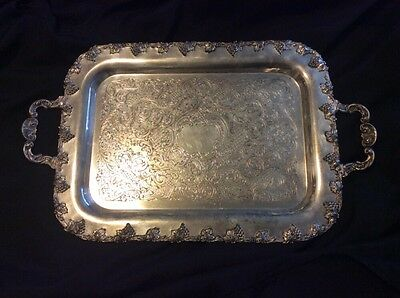 """Antique Rogers Silver Co. Silverplated Tray Grape Pattern Engraved Handles 19"""""""