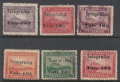 Nicaragua Telegraph Stamps 1907 Landscapes 6 diff used stamps Barefoot cv $27