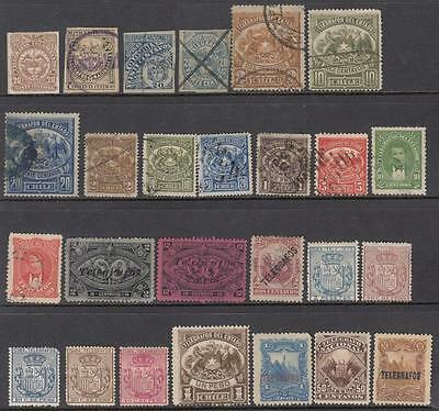 Latin America Telegraph Stamps 19th Century hi val selection 26 diff Bft cv $111