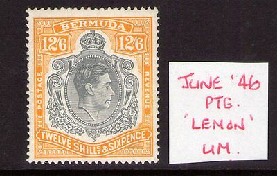 BERMUDA GEORGE VI SG120d LEMON shade june 46 ptg. Superb MNH condition, verified