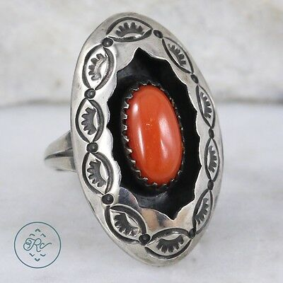 Vintage Sterling Silver | NAVAJO Stamped Coral Shadowbox 4.9g | Ring (5) MA5213