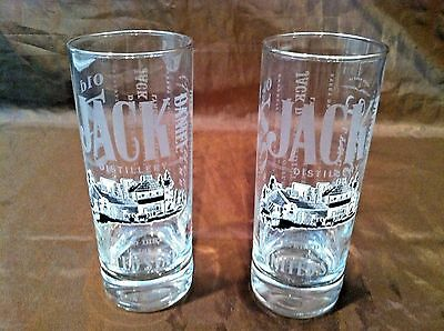 Set of 2 Jack Daniel Distillery Tennessee Whiskey Glasses ~ 10 Oz White Logo