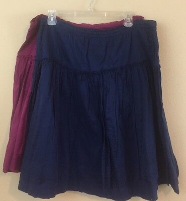 Gap L Large Skirts Lot Of 2 100% Cotton Purple Magenta Navy Blue Elastic CC