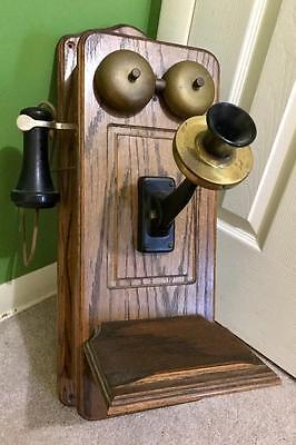 Vintage Antique Hand Crank Wall Telephone Old Oak Phone Converted Rotary
