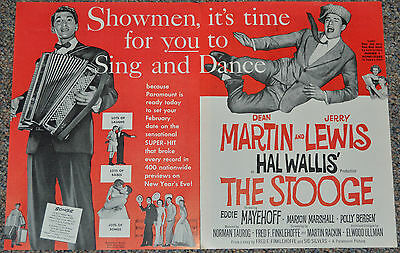 THE STOOGE 1953 ORIG. 12x18 MOVIE TRADE AD! DEAN MARTIN & JERRY LEWIS COMEDY!