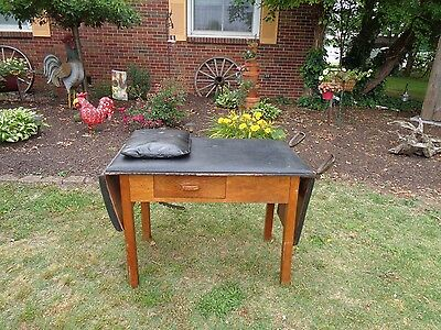 "Antique ""gendron Wheel Co"" Doctors Exam Table W/stirrups And Pillow Wood/leather"