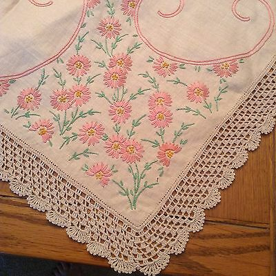 "Vintage Embroidered Linen Tablecloth 81"" x 60"" Pink Flowers 12 Matching Napkins"