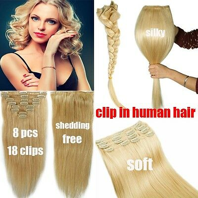 Clip in Human Hair Extensions Full Head 100% Real Remy Hair Long CLEARANCE YU491