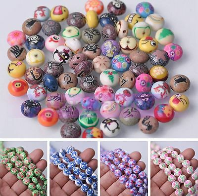10/30pcs 12X8mm Rondelle Polymer Clay Loose Spacer Beads Lot Bulk Jewelry Making