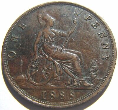 1888 Great Britain One Penny Queen Victoria Coin Good Detail UK-185