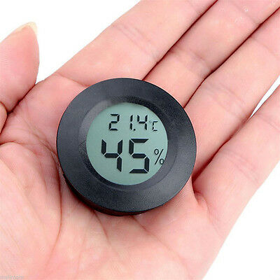 Digital LCD Indoor Outdoor Round Thermometer Humidity Outdoor Home Office Black
