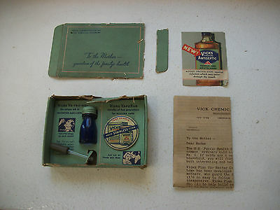 Vicks Chemical Company Box including bottle and tin 1930s