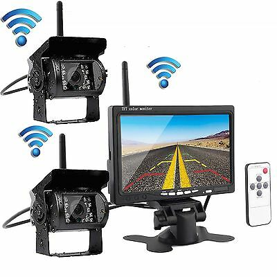 "2 x Wireless IR Rear View Back up Camera System+7"" Monitor F Truck RV Car 12-24V"