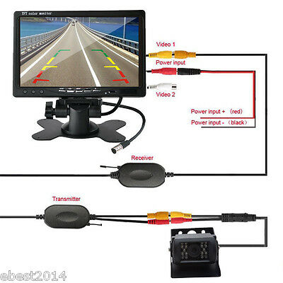"For RV Truck Bus Van IR Rear View Back up Camera Night Vision System+7"" Monitor"