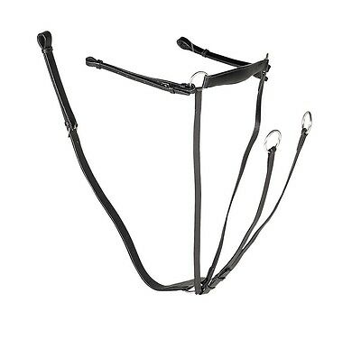 GALLOP LEATHER hose / pony  BREASTPLATE with RUNNING MARTINGALE  All sizes BLACK
